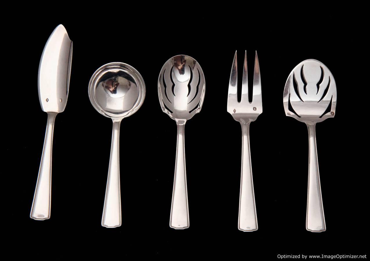 french sterling silver art deco flatware set ravinet d. Black Bedroom Furniture Sets. Home Design Ideas